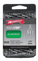 Arrow RSA1/8IP 1/8-Inch Aluminum Short Rivets - 100 Pack