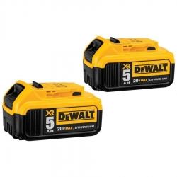 Dewalt DCB205-2 20-Volt 5-Amp/hr Lithium Ion Batteries - 2 Pack