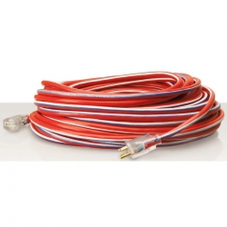 Coleman Cable 2549SWUSA1 100-Foot 12/3 USA Made Red/White/Blue Lighted End Extension Cord