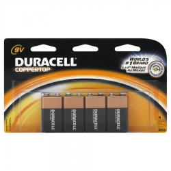 Duracell 41333935645 CopperTop 9-Volt Alkaline Battery - 4 Pack