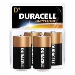 Duracell MN1300R4Z CopperTop D-Cell Alkaline Batteries - 4 Pack
