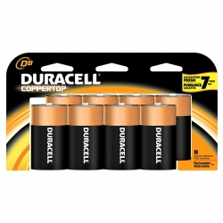 Duracell 4133393364 CopperTop D-Cell Alkaline Batteries - 8 Pack