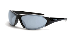 Crossfire 1863 Core Black Frame Safety Sunglasses with Silver Mirror Lenses