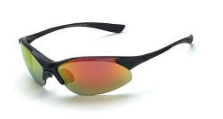 Crossfire 1528 Cobra Matte Black Frame Safety Sunglasses with Red Mirror Lenses
