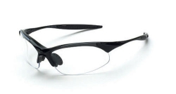Crossfire 1524 Cobra Shiny Black Frame Safety Sunglasses with Clear Lenses