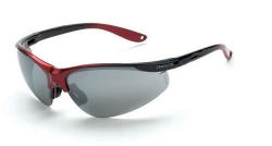 Crossfire 1733 Brigade Black / Red Frame Safety Sunglasses with Silver Mirror Lenses