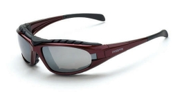 Crossfire 27103 Diamondback Foam Lined Red Frame Safety Sunglasses with Silver Mirror Lenses