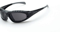 Crossfire 2761AF Diamondback Foamed Lined Black Frame Safety Sunglasses with Smoke Anti-Fog Lens